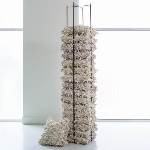 Tall Open Square Pillow Holder Rack | Silver Stacking Organizer Shelf Blanket by Global Views (Image #2)
