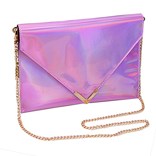 Envelope Women's Mega Bag Clutch Holographic Purse Chain Handbag Pink Shoulder Evening wEwg1Tq