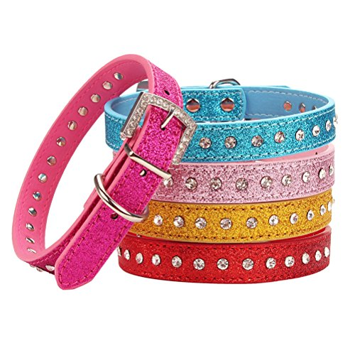 - AOLOVE Fashion Rhinestones Diamante Studded Adjustable Glittering Diamante Finish Pu Leather Pet Collars for Cats Puppy Small Medium Dogs (Small, Pink)