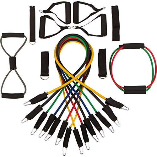 Core Fitness 19 Pc Resistance Band Set. Best Workout Bands for P90X, Crossfit, Yoga - Physical Therapy Exercise Tubes – Handles, Ankle Straps, Door Anchors for Exercise Cords- Exercise Guide PDF.