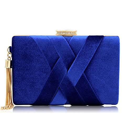 Blue Womens Handbag (Ladies Velvet Bridal Clutch Purses For Women Elegent Crystal Evening Bags With Metal Tassels (Blue))