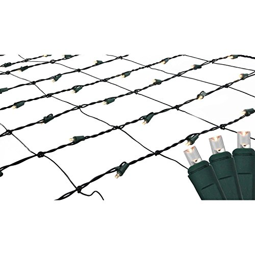 - 4' x 6' Warm White LED Wide Angle Christmas Net Lights - Green Wire
