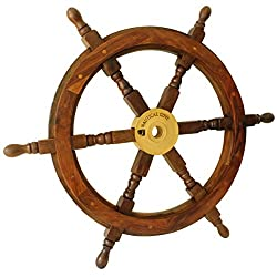 Nautical Cove Wooden Ship Wheel Pirate Decor, Ships Wheel for Home, Boats, and Walls (24 Diameter)
