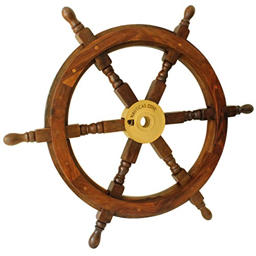 """Nautical Cove Wooden Ship Wheel Pirate Decor, Ships Wheel for Home, Boats, and Walls (24"""" Diameter)"""
