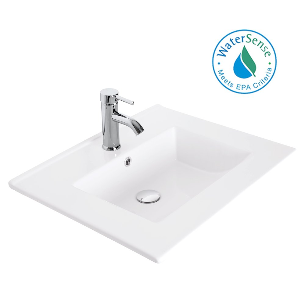 U-Eway 24 Rectangle Drop In White Bathroom Ceramic Sink Porcelain Top With Overflow Faucet Chrome 1.5 GPM Pop Up Drain Water Supply Lines EA08