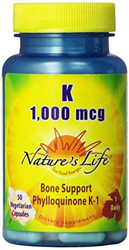 Природа Жизнь K, поддержка Bone, Phylloquinone, 1000 мкг, 50 Вегетарианская капсулы