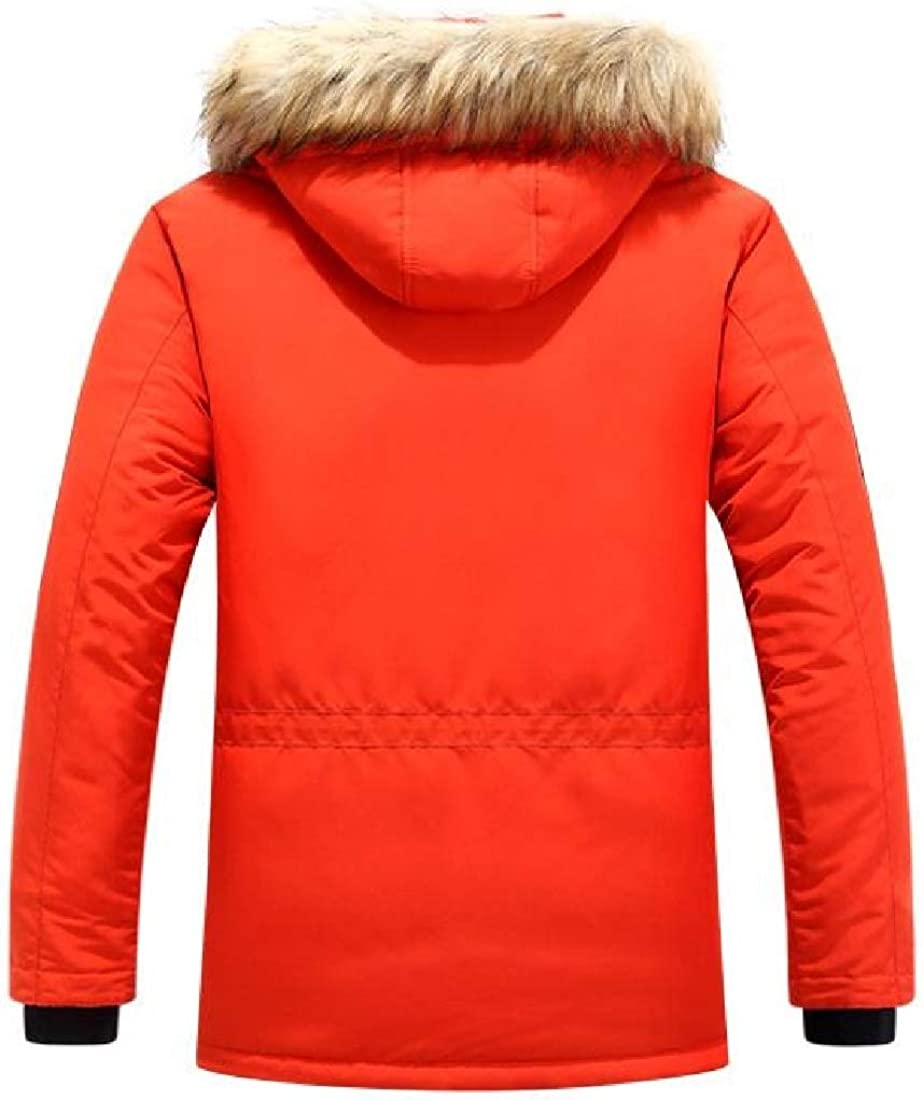 dahuo Veste à Manches Longues en Coton épais et Chaud avec Capuche en Fourrure pour Homme Red