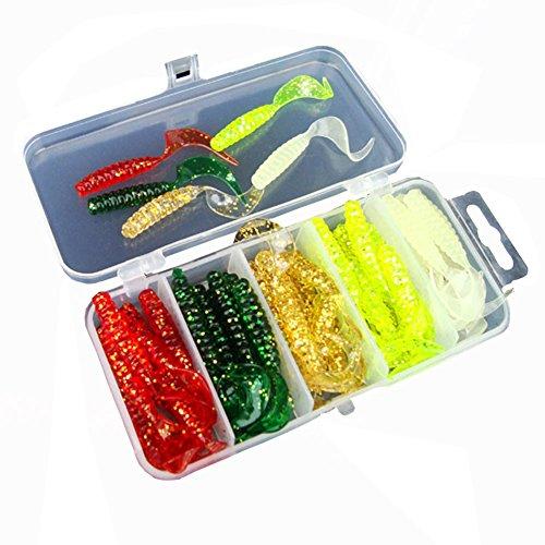 Smartcoco 50pcs/Box 3D Artificial Soft Baits Multicolor Grub Worm Soft Baits Shads Plastic Fishing Tackle - Plastic Grubs