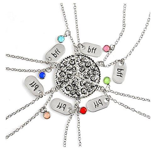 Fusicase 6pcs/lot Bling Silver Friend Friendship Couple Pizza Metal Necklace(Best Friend Forever) (Bracelets 6 Friendship)