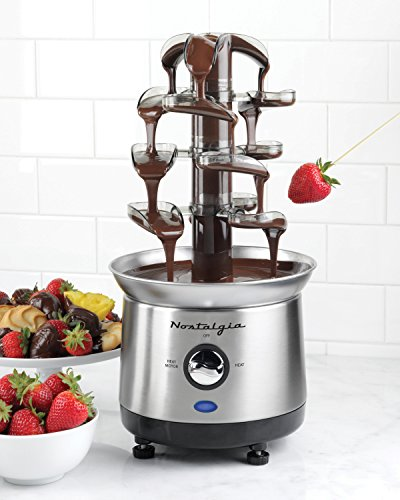 Nostalgia CFF1000 2-Pound Capacity Stainless Steel Cascading Chocolate Fondue Fountain