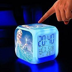 Gouptec 11 Digital Alarm Clock Eles Cartoon Alarm Glowing Led Color Change Moodicare Clocks Alarm Temperatur (Blue)