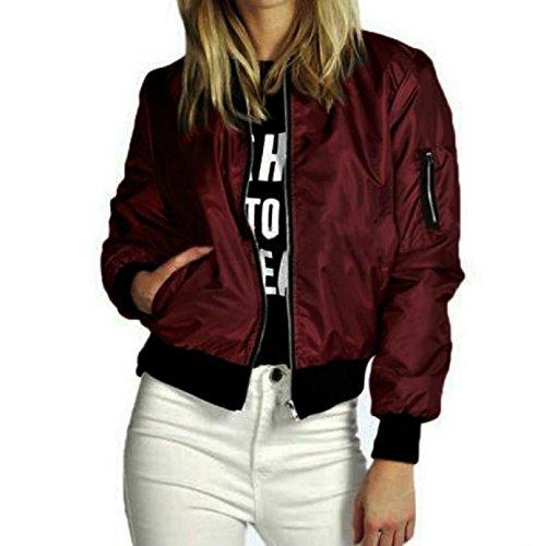 JESPER 2018 New Women Slim Short Bomber Jacket Coat Soft Zipper Biker Motorcycle (Wine, Large(USA 12) /Tag L) by JESPER