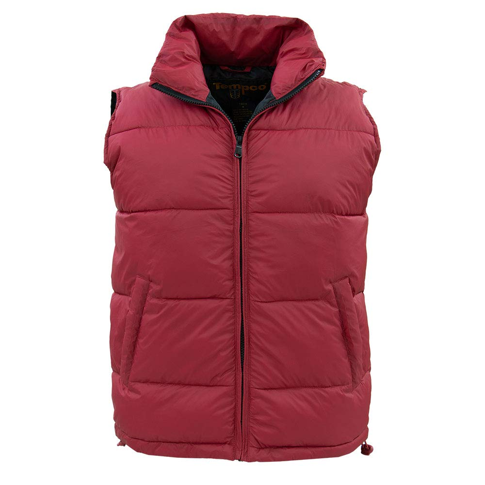 Tempco Men's Marty McFly Retro Vest - Red Puffer Vest - Down - Back to The Future Style TM230-RED