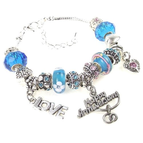 "Happy Anniversary Charm Bracelet Love Heart Interchangeable Murano Style Lampwork Glass Beads in Pink, Blue, Black, Bracelet size in 7.5 +2"" Extender - Blue"