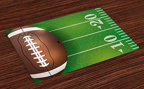 Lunarable Boy's Room Place Mats Set of 4, American Football Field and Ball Realistic Vivid Illustration College, Washable Fabric Placemats for Dining Room Kitchen Table Decoration, Green Brown White