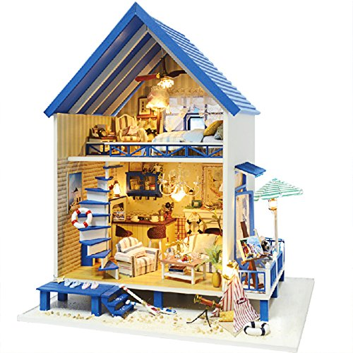 Rylai 3D Puzzles Wooden Handmade Miniature Dollhouse DIY Kit w/ Light -Romantic Aegean Sea Series Dollhouses Accessories Dolls Houses with Furniture & LED & Music Box Best Xmas Gift