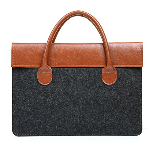 "Price comparison product image MacBook Pro 15.4"" Handbag Carrying Sleeve, Wool Felt & Microfiber Leather Business Briefcase 15 inch Messenger Bag with Leather Handle for Laptops / Notebook Computers Under 15""- Dark Grey&Dark Brown"