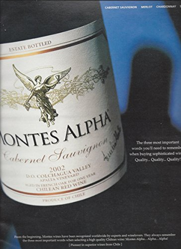 --PRINT AD-- For 2002 Montes Alpha Cabernet Wine Bottle Scene --PRINT AD-- (Wine 2002)