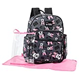 Disney Minnie Mouse Toss Head Print Backpack Diaper Bag, Grey