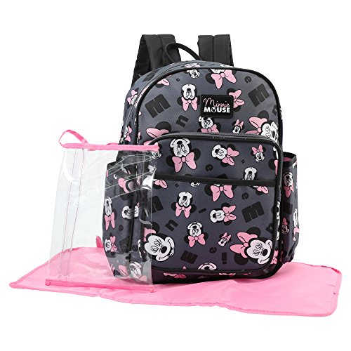 Disney Minnie Mouse Toss Head Print Backpack Diaper Bag, Grey]()