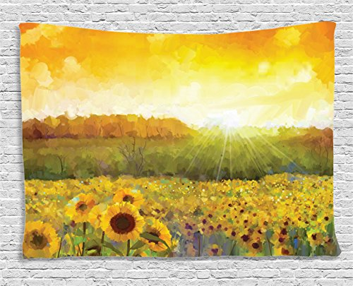 Sunflower Decor Tapestry by Ambesonne, Landscape Art with