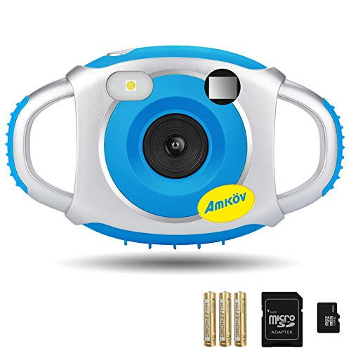 Kids Camera, AMKOV Children Camera with Memory Card and Batteries, Blue