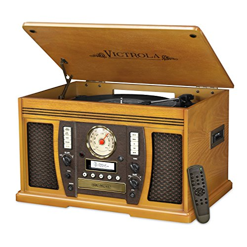 Victrola Nostalgic Aviator Wood 7-in-1 Bluetooth Turntable Entertainment Center, Oak - Oak Turntable