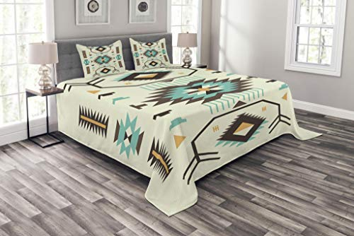 Ambesonne Southwestern Bedspread Set King Size, Ethnic Pattern Design from Ancient Aztec Culture with Indigenous Zigzag Motifs, Decorative Quilted 3 Piece Coverlet Set with 2 Pillow Shams, Pale Yellow