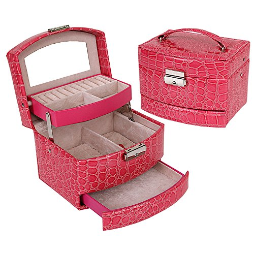 KUKI SHOP Soft Felt 3-Layer Large Capacity Portable Jewelry Storage Organizer Box Case with Lock and Mirror for Necklace Earrings Bracelets Hairpieces Rings Watches Brooches (Rose)
