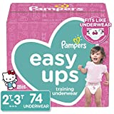 Pampers Easy Ups Diapers Size 4 (2T-3T), Pull On Disposable Training Pants for Girls, Super Pack, 74 Count