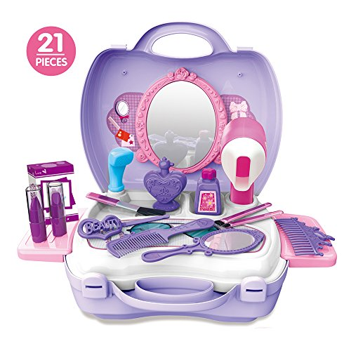 Kids Pretend Play Make Up Case And Cosmetic Set, Durable Beauty Kit Hair Salon with 21 Pcs Makeup Accessories for Children Girls (Hair Salon)