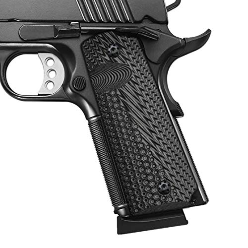 Cool Hand 1911 Full Size G10 Grips, Mag Release, Ambi Safety Cut, OPS Texture, Brand, Grey/Black