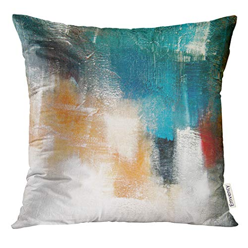 Emvency Throw Pillow Cover Canvas Colors Shading on Acrylic Painting Red Orange Blue and Turquoise Contemporary Mix Media Decorative Pillow Case Home Decor Square 18x18 Inches Pillowcase