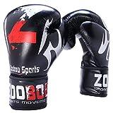 Guantes de Boxeo Adulto 16oz Guantes Kick Boxing Profesional Boxear para Hombe Mujer Guantes Boxeo Negro Cuero PU para Entrenamiento, Saco de Boxeo, Sparring, Muay Thai y Kick Boxing, Artes Marciales