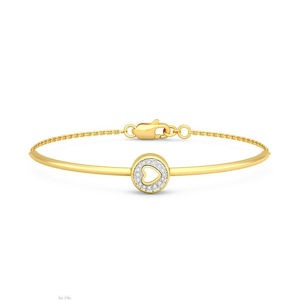 identification-bracelets Size 7.25 inches 18K Yellow Gold 0.091 cttw Round-Cut-Diamond IJ  SI
