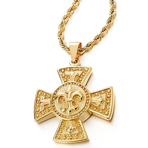 Stainless Steel Gold Color Mens Fleur de Lis Celtic Cross Pendant Necklace with 30 inches Rope Chain