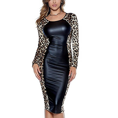 Women Leopard Dress Wet Look Faux Leather Long Sleeve Bodycon Midi Party Club Dresses Halloween Costume -