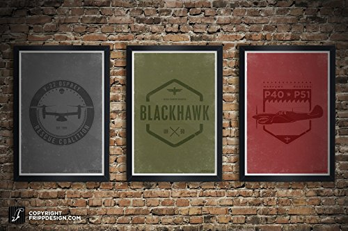P51 Mustang, U-60 Blackhawk, V-22 Osprey, P40 Warhawk Crest Design Aviation Illustration Poster Collection: 11