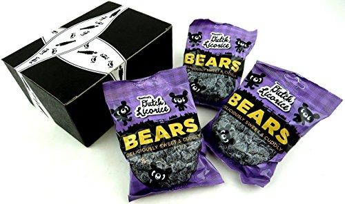 Dutch Bear - Gustaf's Dutch Licorice Bears, 5.2 oz Bags in a BlackTie Box (Pack of 3)