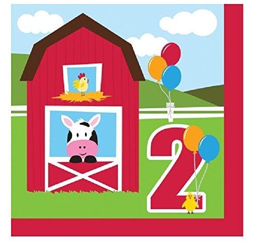 Farmhouse Fun Luncheon Napkin 2nd Bday (36 Count) Farm Animal Barnyard Party