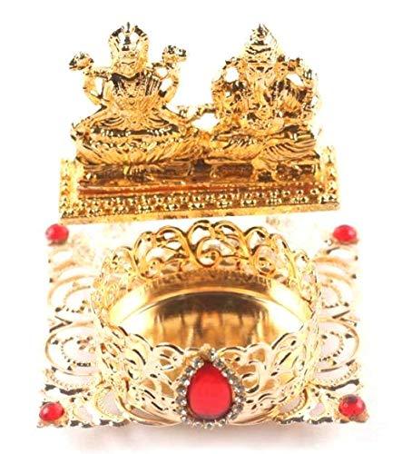 Itiha Lakshmi Ganesh Tea Light Candle Holder Diya Golden/Diwali Diya/Home Decor - 2.5 3 inches