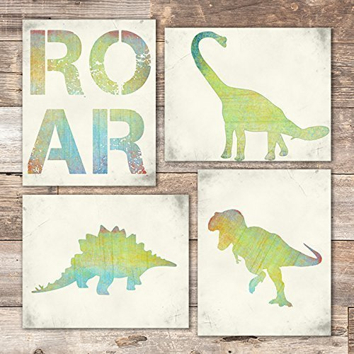 Dinosaur Bedroom Wall Art Prints (Set of 4) - Unframed - 8x10s -