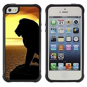 "Pulsar iFace Series Tpu silicona Carcasa Funda Case para Apple iPhone SE / iPhone 5 / iPhone 5S , León Silueta Sunset Mar Océano verano"""
