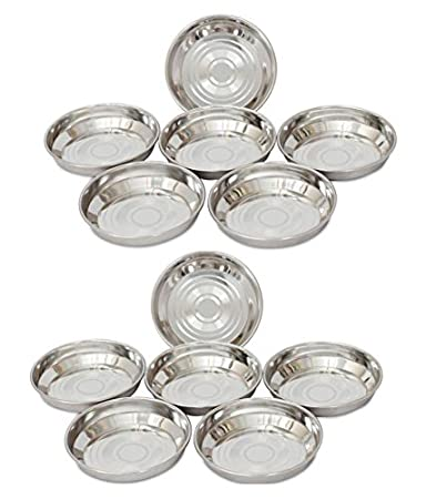 Royal Shappire Stainless Steel Dessert Bowl/Plate In Set Of 12