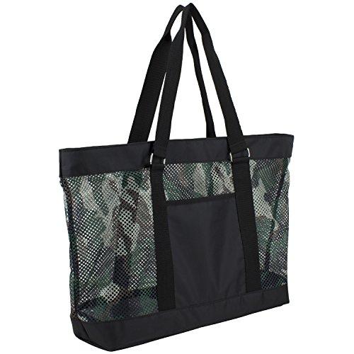 Eastsport Mesh Tote Beach Bag, Army Camo