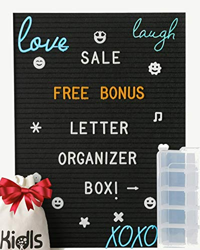 Premium Black  Felt Letter Board - 12x16 White Wood Frame with 750+ Changeable Letters, Numbers, Cursive words and Emojis - Message Board Sign - FREE BONUS: Letters ORGANIZER BOX and WOOD Block Stand]()