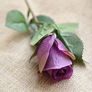 FYYDNZA Nienie 9Pcs/Lot White Rose Artificial Flower Wedding Decoration Diy Flower Artificial Plants Fake Flowers Flowers Home Decoration,Dark Purple Rose 94