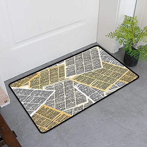 (Custom&blanket Magic Doormat, Old Newspaper Decor Doormats for High Traffic Areas, Pages of Old Journals Magazines Columns Information Print (Light Brown White Black, H16 x W24))