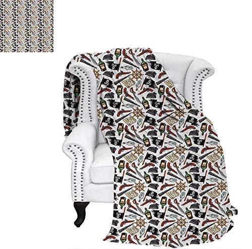"Custom Design Cozy Flannel Blanket Dangerous Caribbean Sea Journey Elements Hand Drawn Illustration with Jolly Roger Lightweight Blanket 60""x36"" Multicolor"