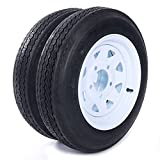 Motorhot Trailer Tire + Rim 4.80-12 480-12 4.80 X 12 12' 5 Lug White Wheel Spoke Mounted 5x4.5 bolt circle - 2 pcs